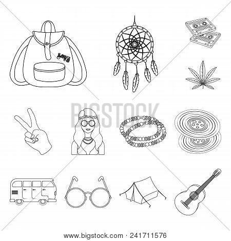 Happy And Attribute Outline Icons In Set Collection For Design. Happy And Accessories Vector Symbol