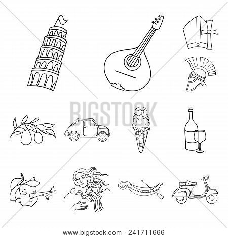 Country Italy Outline Icons In Set Collection For Design. Italy And Landmark Vector Symbol Stock  Il