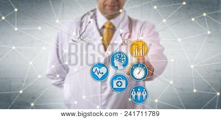 Unrecognizable Doctor Activating Predictive Analytics In Network. Healthcare It Concept For Deep Lea