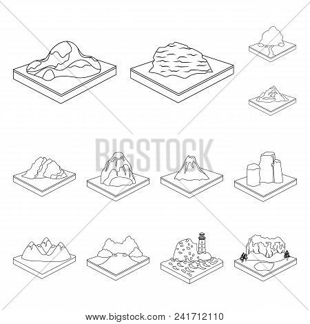Mountains, Massive Outline Icons In Set Collection For Design. The Surface Of The Earth Vector Isome