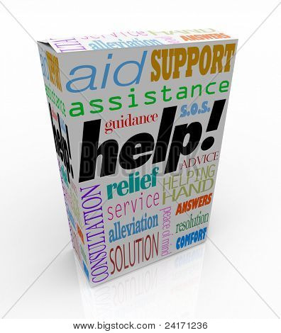 The word Help and many others representing customer support -- assistance, relief, service, consultation, solution, peace of mind, assistance, guidance, resolution, answers, comfort, advice, and more