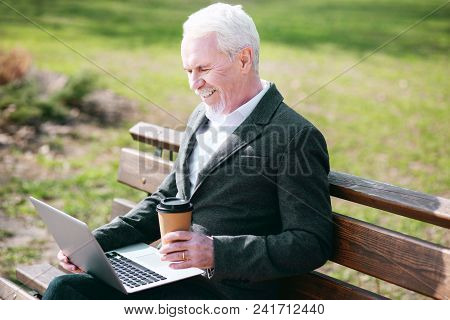 Business In Park. Appealing Mature Businessman Using Laptop While Smiling In Park