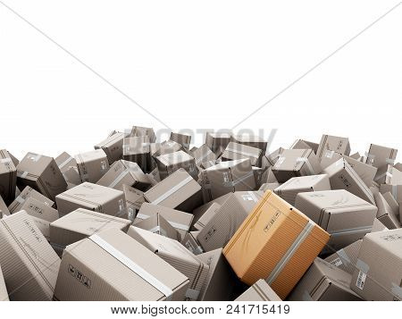 Modern Delivery Concept Mountain From The Boxes On A White Background 3d Render