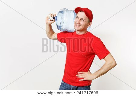 Content Delivery Courier Or Dealer Man In Red Uniform Carrying Bottle Of Fresh Water To Office Coole