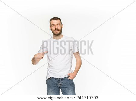 Closeup Of Young Man's Body In Empty White T-shirt Isolated On White Background. Mock Up For Disign