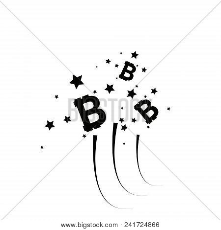 Bitcoin Coin With Fast Speed Firework. Abstract Falling Bitcoin- Black Shooting Bitcoin With Elegant