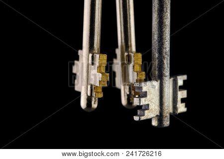Close-up Of Three Keys For Chubb Detector Lock