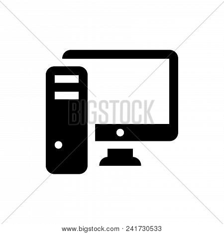 Pc Computer Icon Vector In Modern Flat Style For Web, Graphic And Mobile Design. Pc Computer Icon Ve