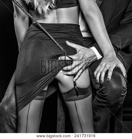Man With Whip Grab Sub Woman Lovers Ass Concept, Black And White