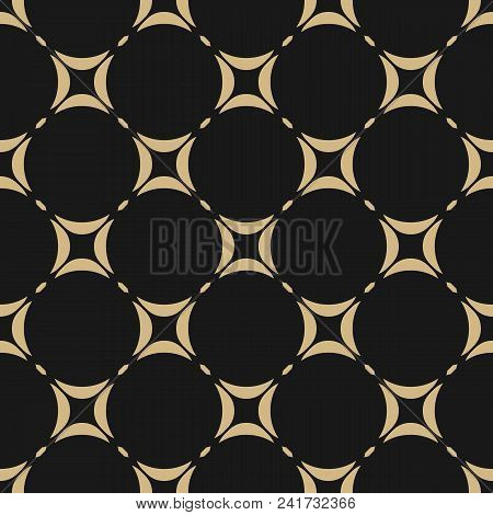 Black And Gold Geometric Seamless Pattern. Vector Ornament Texture. Abstract Repeat Background With