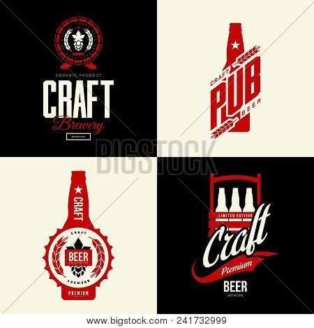 Modern Craft Beer Drink Vector Isolated Logo Sign For Bar, Pub, Brewery Or Brewhouse. Premium Qualit