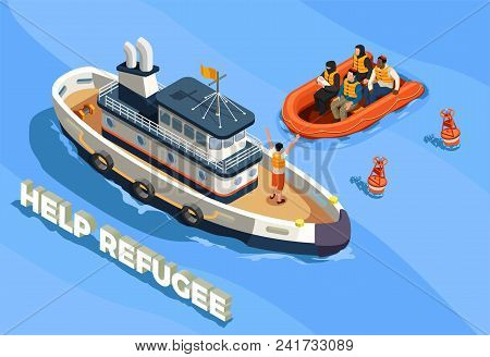 Stateless Refugees Asylum Icons Isometric Composition With Text Sea Landscape And Ship With Refugee