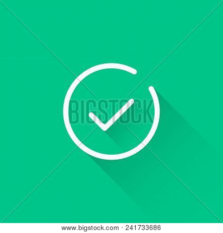 Line Check Mark Icon. Thin Line Design With Long Shadow. White Tick. Vector Icon Isolated On Green B