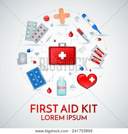 First Aid Kit Realistic Circular Composition Of Medical Emergency Treatment Supplies With Antiseptic
