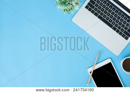 Office Desk Working Space - Flat Lay Top View Mockup Photo Of Working Space With Laptop, Smart Devic