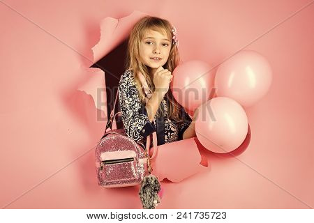 Child Childhood Children Happiness Concept. Small Girl Child With Party Balloons, Celebration. Beaut