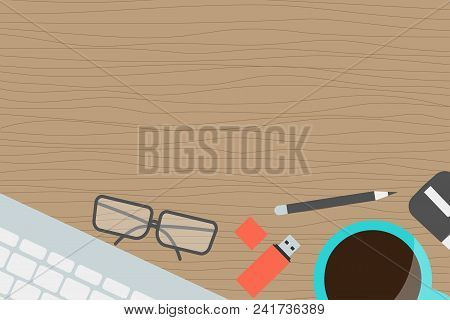 Horizontal Banner Workplace Collection Concept Office Items, Equipment, And Mobile Devices On Desk,