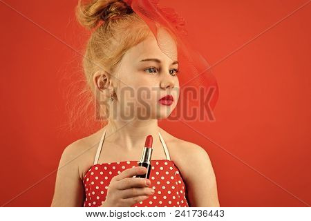 Child Childhood Children Happiness Concept. Retro Girl Fashion With Cosmetics, Beauty. Little Girl H