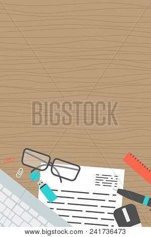 Vertical Banner Workplace Collection Concept Office Items, Equipment, And Mobile Devices On Desk, Fl