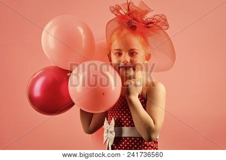 Child Childhood Children Happiness Concept. Birthday, Happiness, Childhood, Look. Kid With Balloons