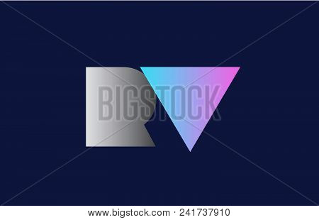 Initial Alphabet Letter Rv R V Logo Combination In Pink Blue And Grey Colors Suitable For Business A