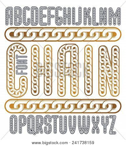 Vector condensed, tall font. Trendy typescript can be used in art creation. Upper case creative letters  made with steel chain link, joined link. poster