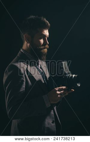 Photographer. Well-dressed Man With Retro Camera. Businessman With Vintage Photo Camera. Hipster Wit