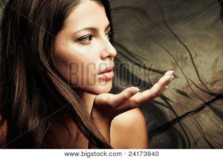 young woman beauty fantasy portrait, studio shot, small amount of grain added