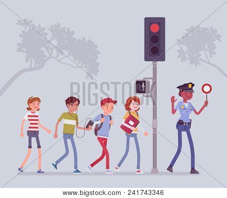 Safe Road Crossing. Policewoman Teaching And Helping Children To Avoid Street Danger Or Risk, Walkin