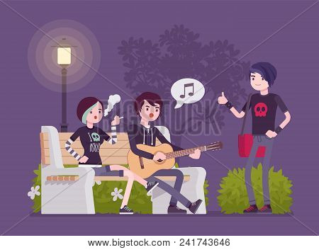 Emo Hanging Out. Young Members Of Subculture Social Group, Depressed Teenagers With Dark Look Wearin