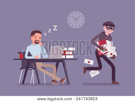 Stealing Documents Crime. Sleeping Businessman Unaware Of Felonious Corporate Paper Taking, Masked T