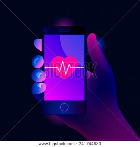 Fitness App Concept On Touchscreen. Mobile Phone Screen With Heart And Cardiac Pulsation. Trendy Sty