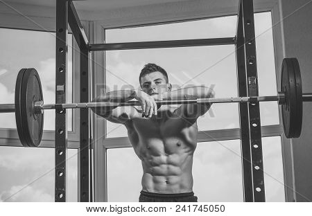 Mens Heals Care. Sportsman, Athlete With Muscles Looks Attractive. Sport And Gym Concept. Man With T