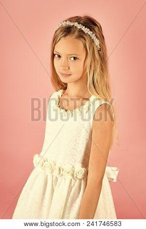 Little Girl In Fashionable Dress, Prom. Beauty Fashion Model Girl. Fashion Look. Fashion Model On Pi