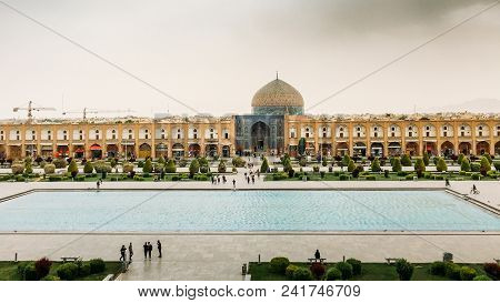 Isfahan, Iran - April 22, 2018: Imam Square In Isfahan, Iran. It Is Known As Naqsh-e Jahan Square An