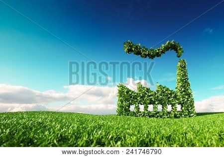 Eco Friendly Industry Concept. 3d Rendering Of Green Factory Icon On Fresh Spring Meadow With Blue S