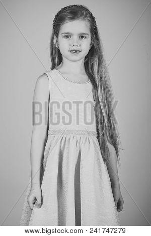 Beauty Fashion Model Girl. Fashion Look. Little Girl In Fashionable Dress, Prom. Fashion Model On Pi