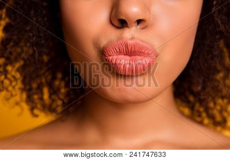 Cropped Close Up Photo Of Tempting Full Big With Bright Beautiful Lipstick Lips, Bronze Tanned Skin,