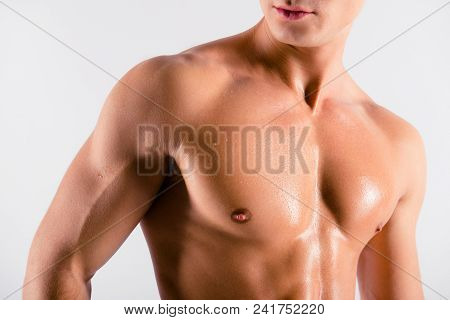 Close Up Cropped Front View Photo Of Sexual Tempting Attractive Tired Sporty Muscular Sweaty Man's P