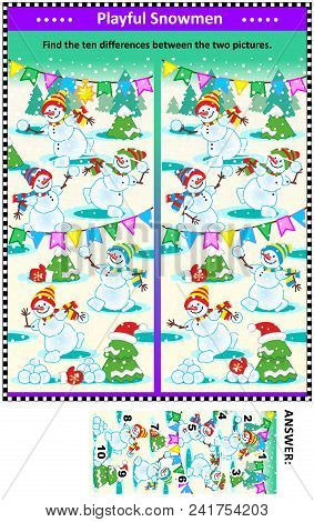 Winter, Christmas Or New Year Themed Visual Puzzle With Happy Playful Playful Snowmen: Find The Ten