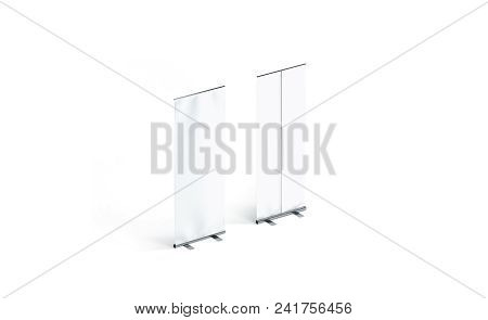Blank White Roll-up Banner Front And Back Side View Display Mockup, Isolated, 3d Rendering. Clear Is