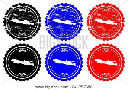 Java - Rubber Stamp - Vector, Java Map Pattern - Sticker - Black, Blue And Red