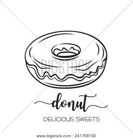 Vector hand drawn donut icon in retro style for menu cafe. Illustration dessert and confectionery. poster