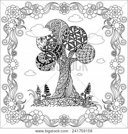 Hand Drawn Zen Tangle Monochrome Stylized Tree In Floral Frame, Stock Vector Illustration For Web, F