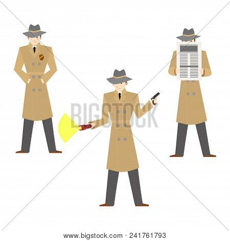 Cartoon Characters Private Detective Set Investigation Crime Concept Element Flat Design Style. Vect