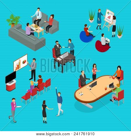 Coworking People And Equipment 3d Icons Set Isometric View Corporate Communication Concept. Vector I