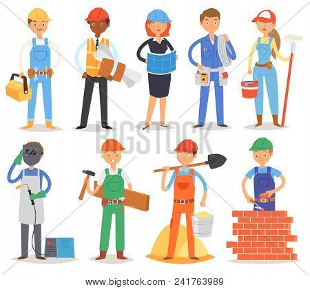 Builder Vector Constructor People Character Building Construction For Newbuild Illustration Set Of W
