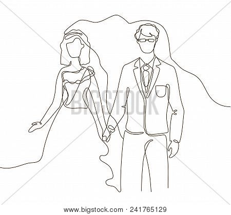 Wedding - One Line Design Style Illustration On White Background. Happy Newly Married Couple Holding