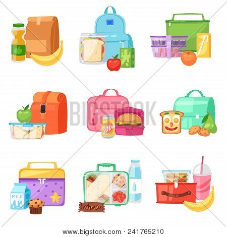 Lunch Box Vector School Lunchbox With Healthy Food Fruits Or Vegetables Boxed In Kids Container In B