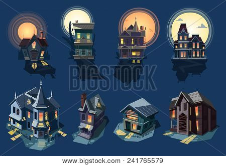 Spooky house vector haunted castle with dark scary horror nightmare on halloween moonlight mystery illustration nightly set of creepy building isolated on background. poster